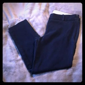 J. Crew Stretch Ankle Length Pants Navy Blue 10